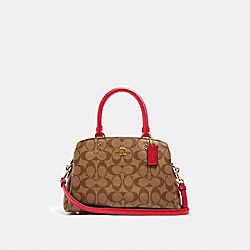 MINI LILLIE CARRYALL IN SIGNATURE CANVAS - IM/KHAKI ELECTRIC PINK - COACH 91494