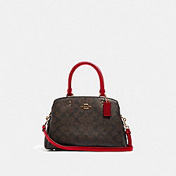 MINI LILLIE CARRYALL IN SIGNATURE CANVAS - IM/BROWN 1941 RED - COACH 91494