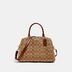 LILLIE CARRYALL IN SIGNATURE CANVAS - IM/KHAKI SADDLE 2 - COACH 91495