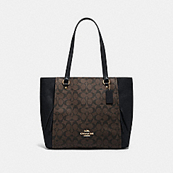 MARLON TOTE IN SIGNATURE CANVAS - IM/BROWN BLACK - COACH 91508