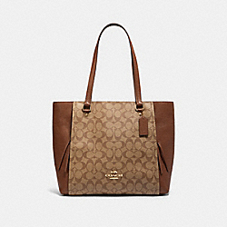 MARLON TOTE IN SIGNATURE CANVAS - IM/KHAKI SADDLE 2 - COACH 91508