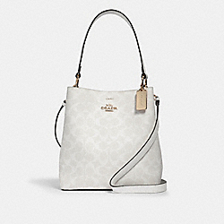 TOWN BUCKET BAG IN SIGNATURE CANVAS - IM/CHALK/GLACIERWHITE - COACH 91512