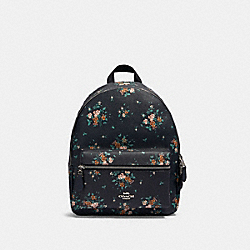 MEDIUM CHARLIE BACKPACK WITH ROSE BOUQUET PRINT - SV/MIDNIGHT MULTI - COACH 91530