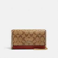 FLAP BELT BAG IN COLORBLOCK SIGNATURE CANVAS - IM/KHAKI MULTI - COACH 91537