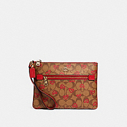 GALLERY POUCH IN SIGNATURE CANVAS WITH CRAYON HEARTS PRINT - IM/KHAKI RED MULTI - COACH 91542