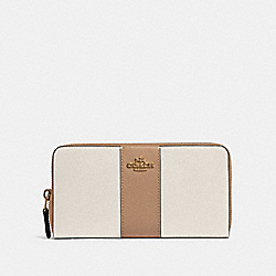 ACCORDION ZIP WALLET IN COLORBLOCK WITH STRIPE - IM/CHALK MULTI - COACH 91574