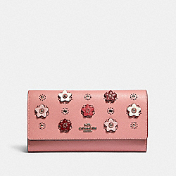 TRIFOLD WALLET WITH DAISY APPLIQUE - SV/LIGHT BLUSH MULTI - COACH 91584