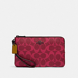 DOUBLE ZIP WALLET IN BLOCKED SIGNATURE CANVAS - QB/MAGENTA MULTI - COACH 91588