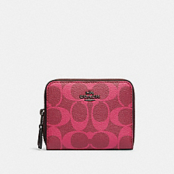 SMALL DOUBLE ZIP AROUND WALLET IN BLOCKED SIGNATURE CANVAS - QB/MAGENTA MULTI - COACH 91601