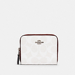 SMALL DOUBLE ZIP AROUND WALLET IN BLOCKED SIGNATURE CANVAS - SV/CHALK MULTI - COACH 91618