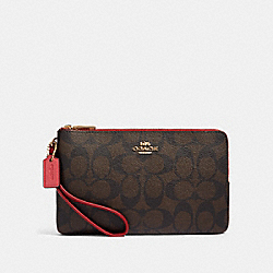 DOUBLE ZIP WALLET IN BLOCKED SIGNATURE CANVAS - IM/BROWN MULTI - COACH 91619