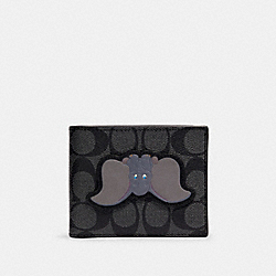 DISNEY X COACH 3-IN-1 WALLET IN SIGNATURE CANVAS WITH DUMBO - QB/CHARCOAL PLUM MULTI - COACH 91654