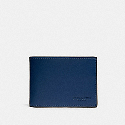 SLIM BILLFOLD WALLET IN COLORBLOCK - QB/BLUE MULTI - COACH 91656