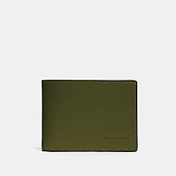 SLIM BILLFOLD WALLET IN COLORBLOCK - QB/GREEN MULTI - COACH 91656