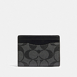 MAGNETIC CARD CASE IN SIGNATURE CANVAS - QB/CHARCOAL - COACH 91660