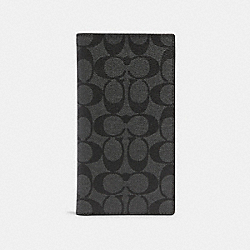 SLIM PASSPORT WALLET IN SIGNATURE CANVAS - QB/CHARCOAL - COACH 91663