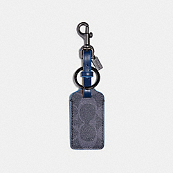 LUGGAGE TAG IN SIGNATURE CANVAS - QB/DENIM MULTI - COACH 91671