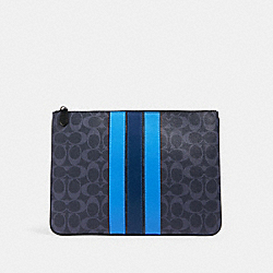 LARGE POUCH IN SIGNATURE CANVAS WITH VARSITY STRIPE - QB/DENIM MULTI - COACH 91673