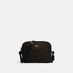 MINI CAMERA BAG IN SIGNATURE CANVAS - IM/BROWN BLACK - COACH 91677