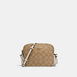 MINI CAMERA BAG IN SIGNATURE CANVAS - IM/LIGHT KHAKI CHALK - COACH 91677