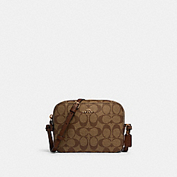 MINI CAMERA BAG IN SIGNATURE CANVAS - IM/KHAKI SADDLE 2 - COACH 91677