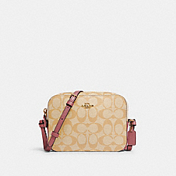 MINI CAMERA BAG IN SIGNATURE CANVAS - IM/LIGHT KHAKI ROSE - COACH 91677