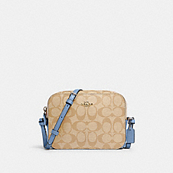 MINI CAMERA BAG IN SIGNATURE CANVAS - SV/LIGHT KHAKI/SLATE - COACH 91677