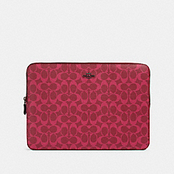 LAPTOP SLEEVE IN SIGNATURE CANVAS - QB/MAGENTA - COACH 91685
