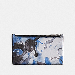 ZIP CARD CASE WITH WATERCOLOR SCRIPT PRINT - QB/BLUE - COACH 91694