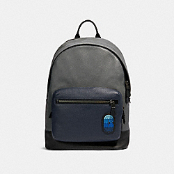 WEST BACKPACK IN COLORBLOCK WITH COACH PATCH - QB/INDUSTRIAL GREY MULTI - COACH 91742
