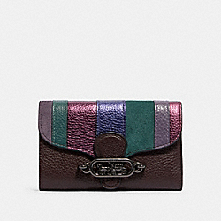 JADE MEDIUM ENVELOPE WALLET WITH PIECING - QB/OXBLOOD MULTI - COACH 91749