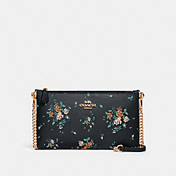 ZIP TOP CROSSBODY WITH ROSE BOUQUET PRINT - SV/MIDNIGHT MULTI - COACH 91758
