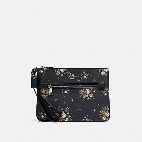 COACH GALLERY POUCH WITH ROSE BOUQUET PRINT - SV/MIDNIGHT MULTI - 91763