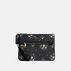 GALLERY POUCH WITH ROSE BOUQUET PRINT - SV/MIDNIGHT MULTI - COACH 91763