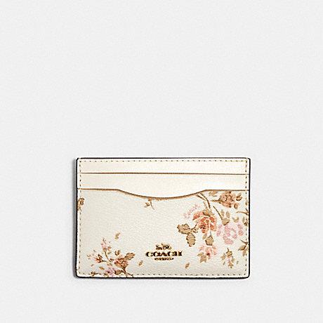 COACH FLAT CARD CASE WITH ROSE BOUQUET PRINT - IM/CHALK MULTI - 91789
