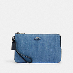 DOUBLE ZIP WALLET - SV/DENIM MULTI - COACH 91833
