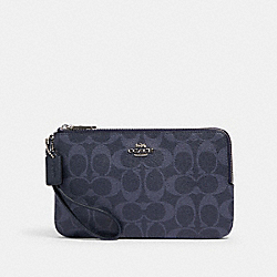 DOUBLE ZIP WALLET IN SIGNATURE CANVAS - SV/DENIM MIDNIGHT - COACH 91834