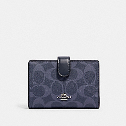MEDIUM CORNER ZIP WALLET IN SIGNATURE CANVAS - SV/DENIM MIDNIGHT - COACH 91838