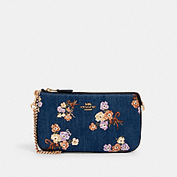 LARGE WRISTLET WITH PAINTED FLORAL BOX PRINT - IM/DENIM MULTI - COACH 92050