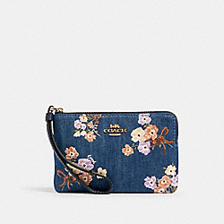 CORNER ZIP WRISTLET WITH PAINTED FLORAL BOX PRINT - IM/DENIM MULTI - COACH 92622