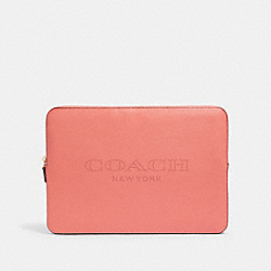 LAPTOP SLEEVE WITH COACH PRINT - IM/BRIGHT CORAL - COACH 93148