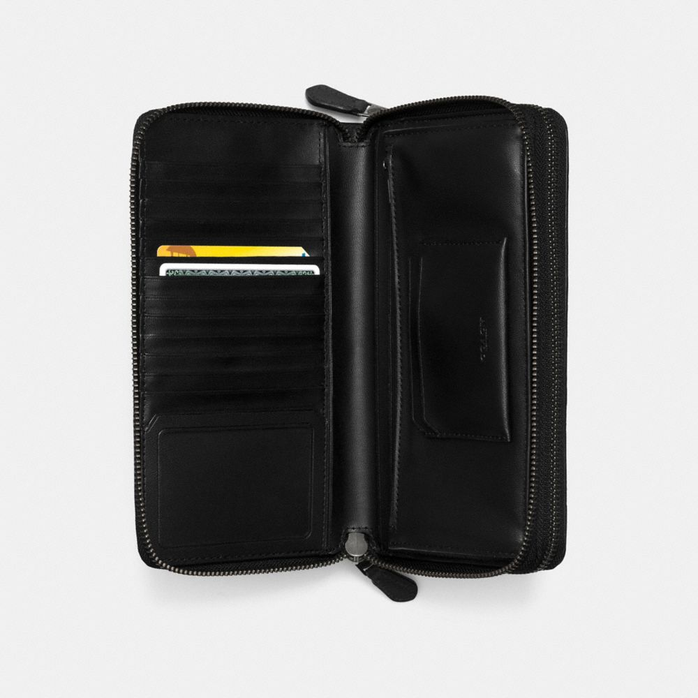 Double Zip Travel Organizer in Signature Crossgrain Leather - Alternate View A1