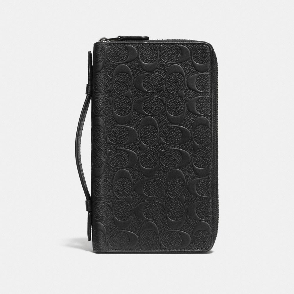 Double Zip Travel Organizer in Signature Crossgrain Leather