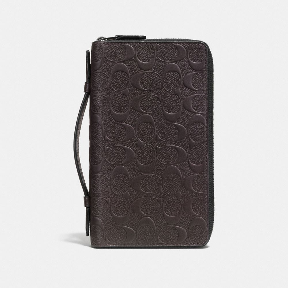 DOUBLE ZIP TRAVEL ORGANIZER IN SIGNATURE CROSSGRAIN LEATHER - Alternate View