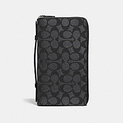 DOUBLE ZIP TRAVEL ORGANIZER IN SIGNATURE CANVAS - CHARCOAL - COACH 93430