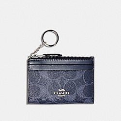 MINI SKINNY ID CASE IN SIGNATURE CANVAS - SV/DENIM MIDNIGHT - COACH 93680