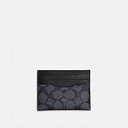 CARD CASE IN SIGNATURE CANVAS - CHARCOAL/BLACK - COACH 936