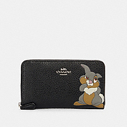 DISNEY X COACH MEDIUM ZIP AROUND WALLET WITH THUMPER - SV/BLACK - COACH 93768