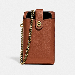 TURNLOCK CHAIN PHONE CROSSBODY - GD/1941 SADDLE - COACH 93979