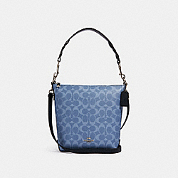 MINI ABBY DUFFLE IN SIGNATURE CANVAS - SV/LIGHT DENIM - COACH 93999